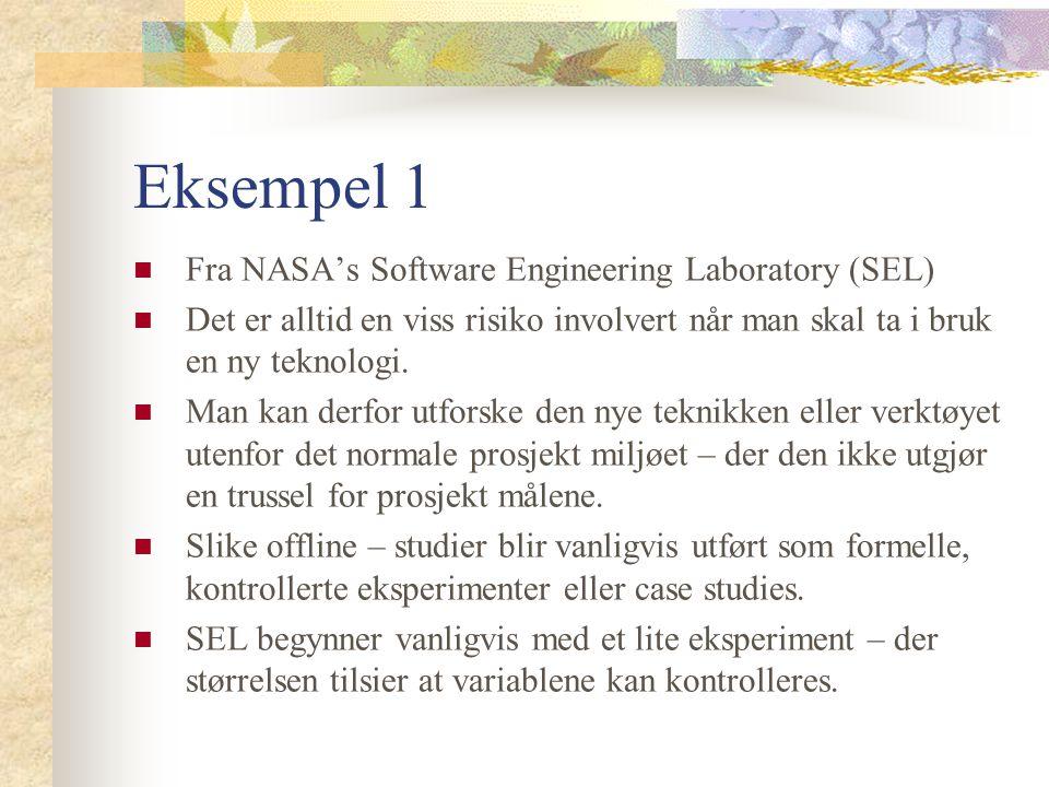Eksempel 1 Fra NASA's Software Engineering Laboratory (SEL) Det er alltid en viss risiko involvert når man skal ta i bruk en ny teknologi. Man kan der