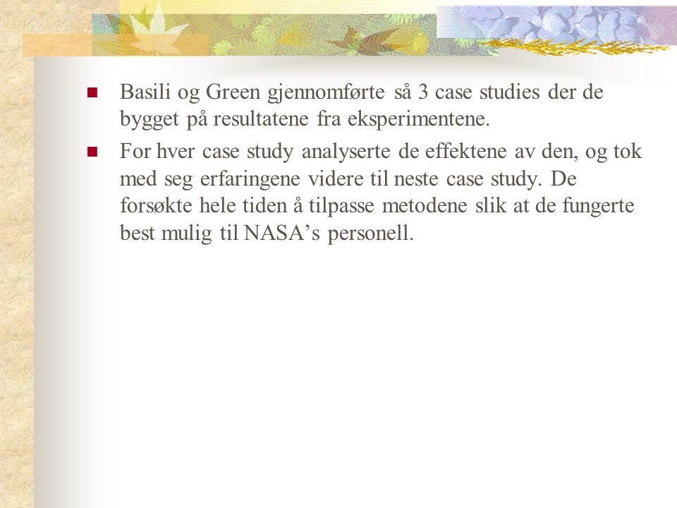 Basili og Green gjennomførte så 3 case studies der de bygget på resultatene fra eksperimentene. For hver case study analyserte de effektene av den, og