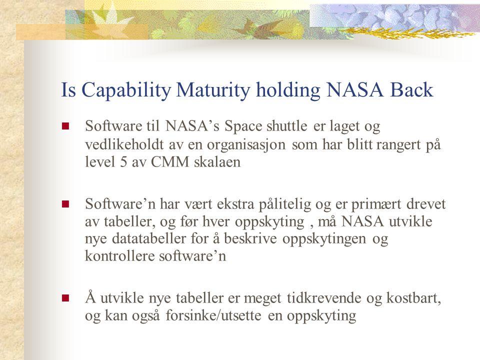 Is Capability Maturity holding NASA Back Software til NASA's Space shuttle er laget og vedlikeholdt av en organisasjon som har blitt rangert på level
