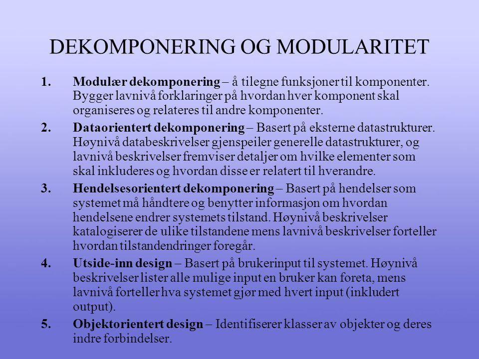 DEKOMPONERING OG MODULARITET 1.Modulær dekomponering – å tilegne funksjoner til komponenter.