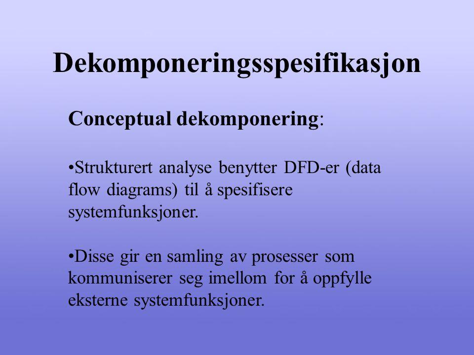 Dekomponeringsspesifikasjon Conceptual dekomponering: Strukturert analyse benytter DFD-er (data flow diagrams) til å spesifisere systemfunksjoner.