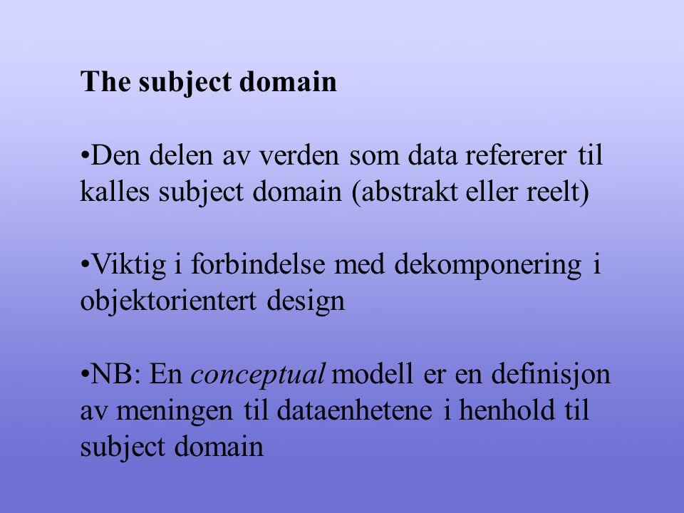 The subject domain Den delen av verden som data refererer til kalles subject domain (abstrakt eller reelt) Viktig i forbindelse med dekomponering i objektorientert design NB: En conceptual modell er en definisjon av meningen til dataenhetene i henhold til subject domain