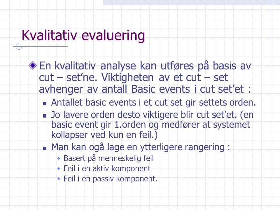 Kvalitativ evaluering En kvalitativ analyse kan utføres på basis av cut – set'ne. Viktigheten av et cut – set avhenger av antall Basic events i cut se