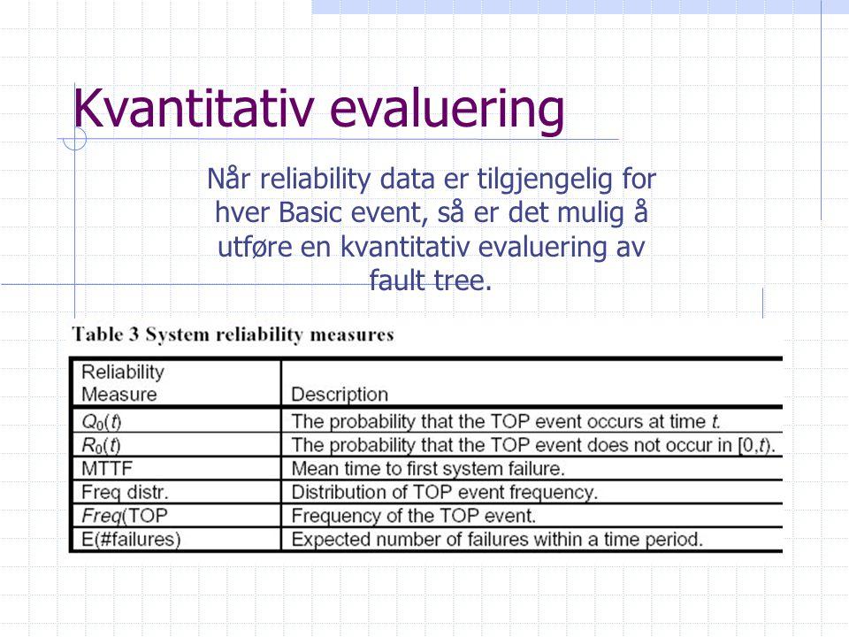 Kvantitativ evaluering Når reliability data er tilgjengelig for hver Basic event, så er det mulig å utføre en kvantitativ evaluering av fault tree.