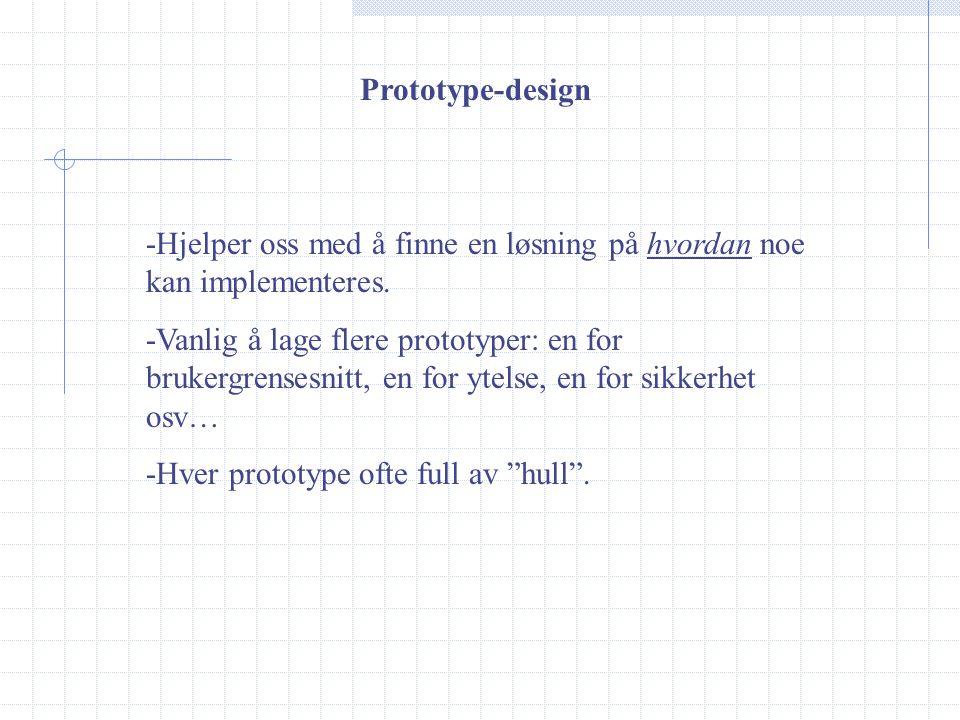 Prototype-design -Hjelper oss med å finne en løsning på hvordan noe kan implementeres.