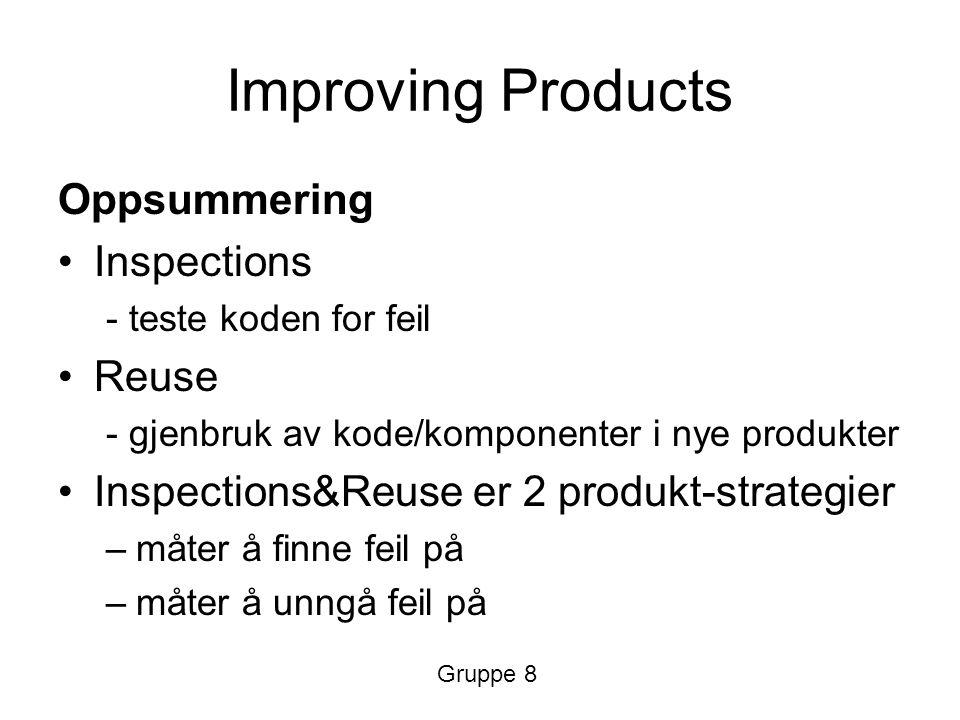 Improving Products Oppsummering Inspections - teste koden for feil Reuse - gjenbruk av kode/komponenter i nye produkter Inspections&Reuse er 2 produkt