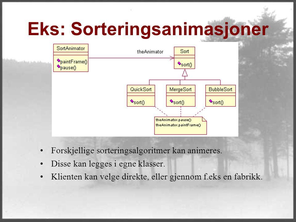 Eks: Sorteringsanimasjoner Forskjellige sorteringsalgoritmer kan animeres. Disse kan legges i egne klasser. Klienten kan velge direkte, eller gjennom