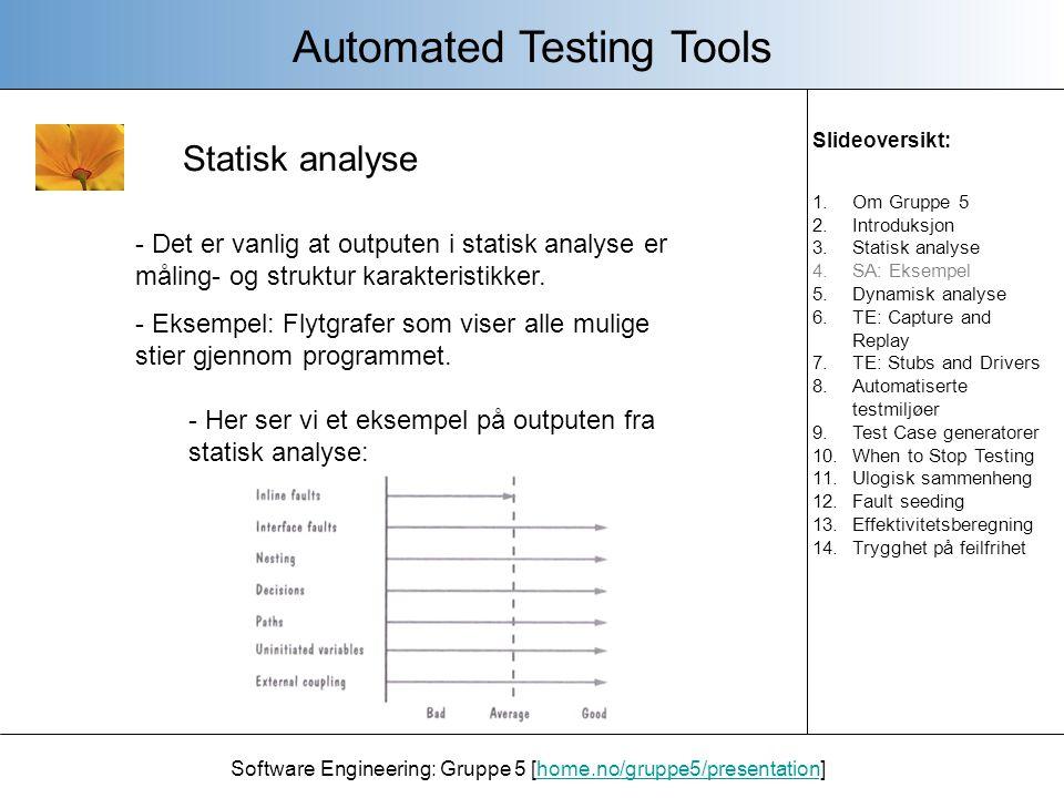 Dynamisk analyse Software Engineering: Gruppe 5 [home.no/gruppe5/presentation]home.no/gruppe5/presentation - Denne formen for analysering brukes ofte i forbindelse med real-time systemer.