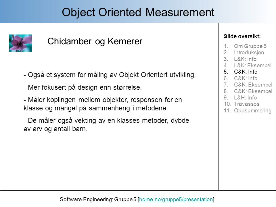 Chidamber og Kemerer Object Oriented Measurement Software Engineering: Gruppe 5 [home.no/gruppe5/presentation]home.no/gruppe5/presentation - Også et system for måling av Objekt Orientert utvikling.