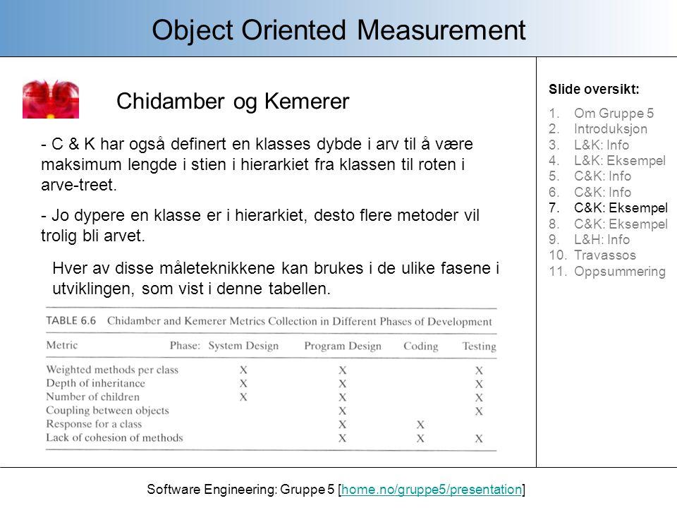 Chidamber og Kemerer Object Oriented Measurement Software Engineering: Gruppe 5 [home.no/gruppe5/presentation]home.no/gruppe5/presentation Man kan bruke C&K's måleverktøy til programdesign også.