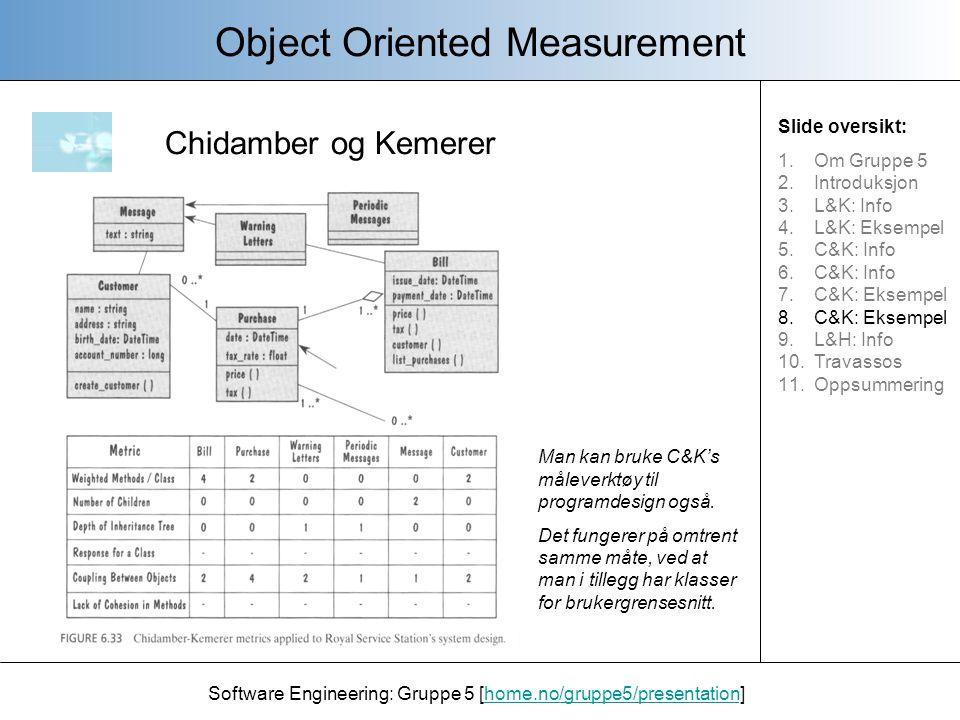 Li og Henry Object Oriented Measurement Software Engineering: Gruppe 5 [home.no/gruppe5/presentation]home.no/gruppe5/presentation Det er sannsynelig at det vil bli mer feil i koden hvis: - De belastede metodene pr.