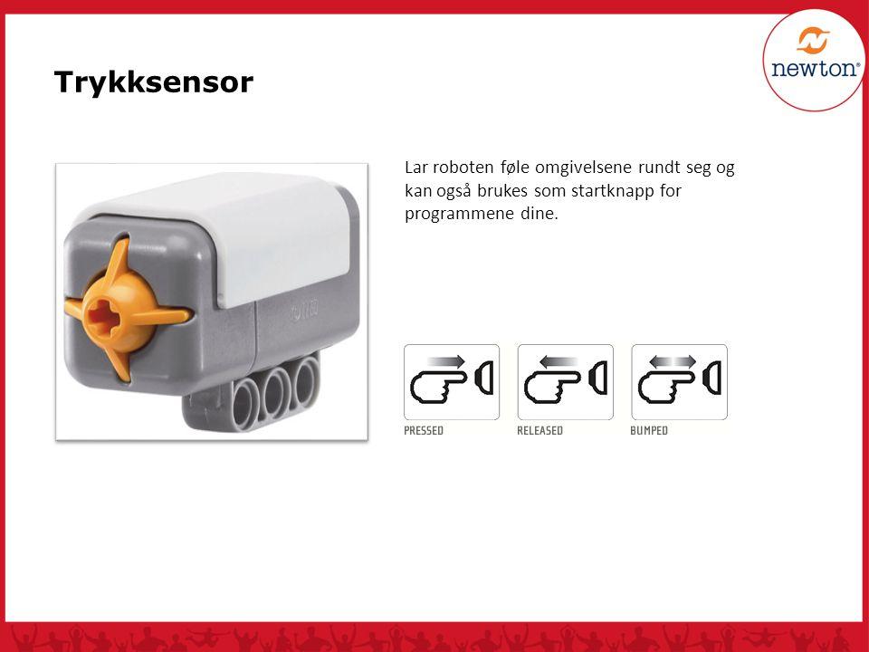 Trykksensor Lar roboten føle omgivelsene rundt seg og kan også brukes som startknapp for programmene dine.