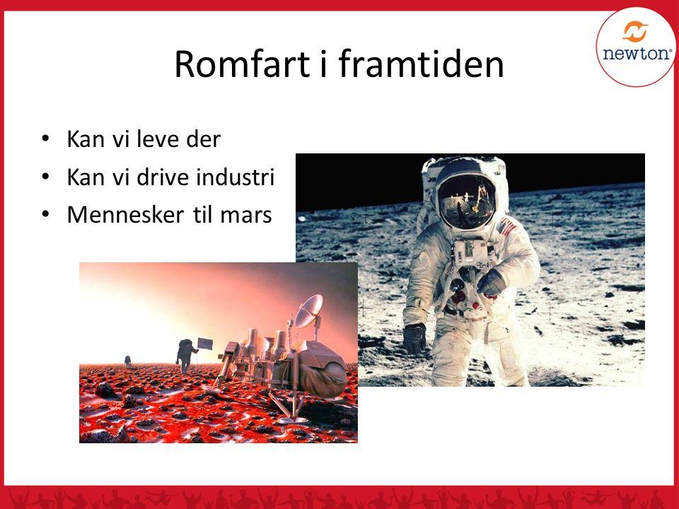 Romfart i framtiden Kan vi leve der Kan vi drive industri Mennesker til mars