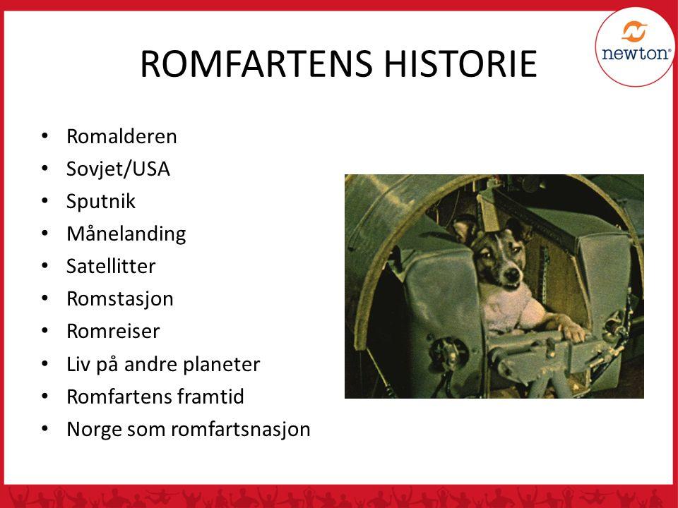 ROMFARTENS HISTORIE Romalderen Sovjet/USA Sputnik Månelanding Satellitter Romstasjon Romreiser Liv på andre planeter Romfartens framtid Norge som romf