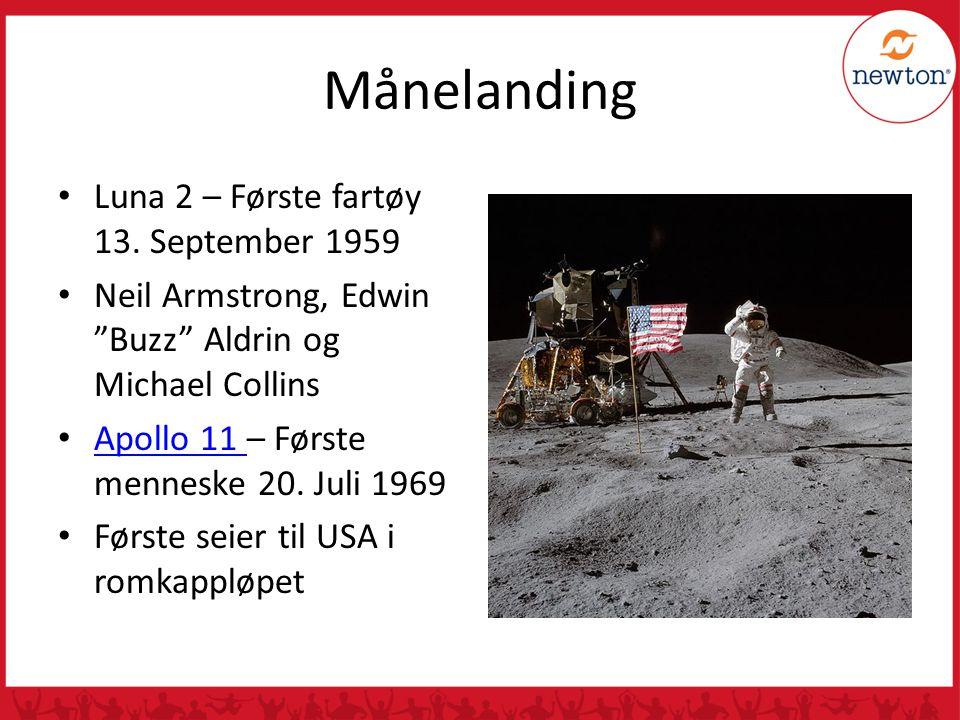 "Månelanding Luna 2 – Første fartøy 13. September 1959 Neil Armstrong, Edwin ""Buzz"" Aldrin og Michael Collins Apollo 11 – Første menneske 20. Juli 1969"