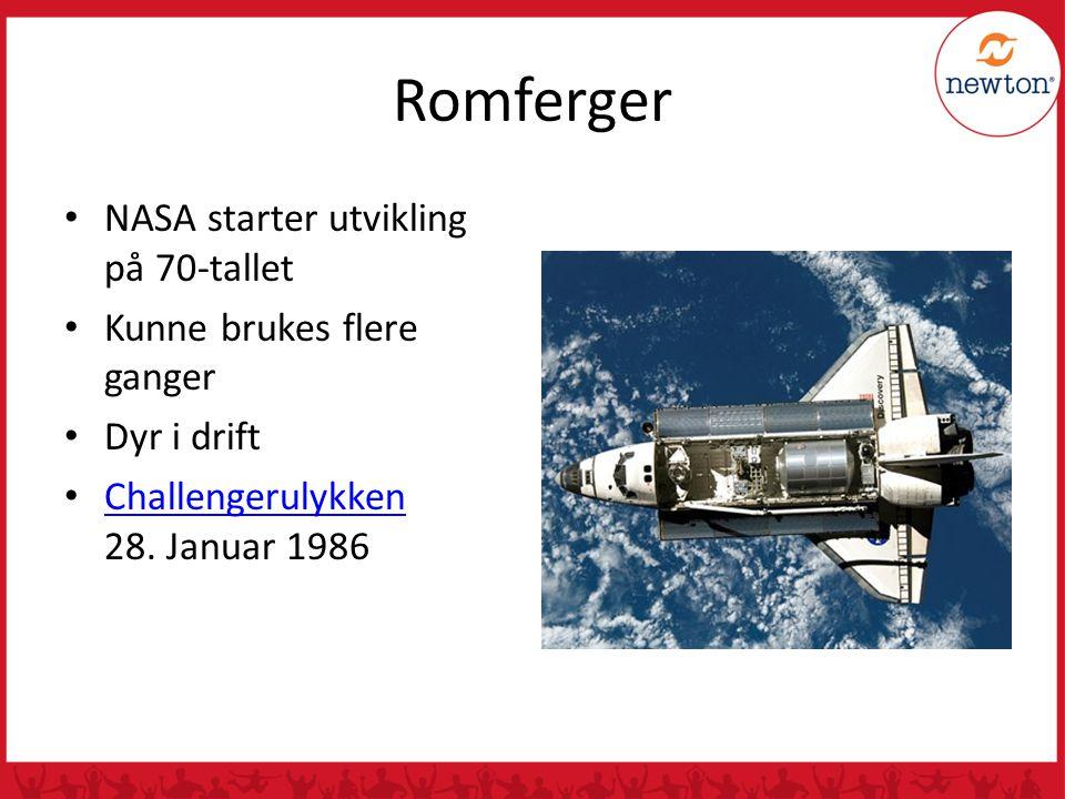 Romferger NASA starter utvikling på 70-tallet Kunne brukes flere ganger Dyr i drift Challengerulykken 28. Januar 1986 Challengerulykken