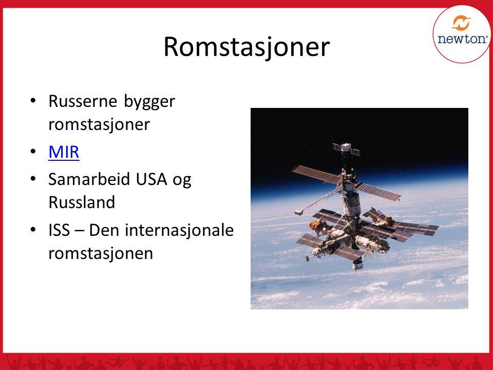 Romstasjoner Russerne bygger romstasjoner MIR Samarbeid USA og Russland ISS – Den internasjonale romstasjonen
