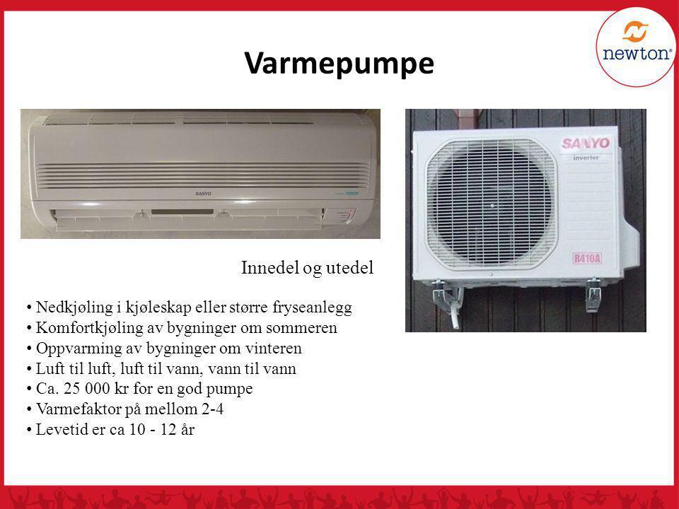 Varmepumpe Innedel og utedel Nedkjøling i kjøleskap eller større fryseanlegg Komfortkjøling av bygninger om sommeren Oppvarming av bygninger om vinter