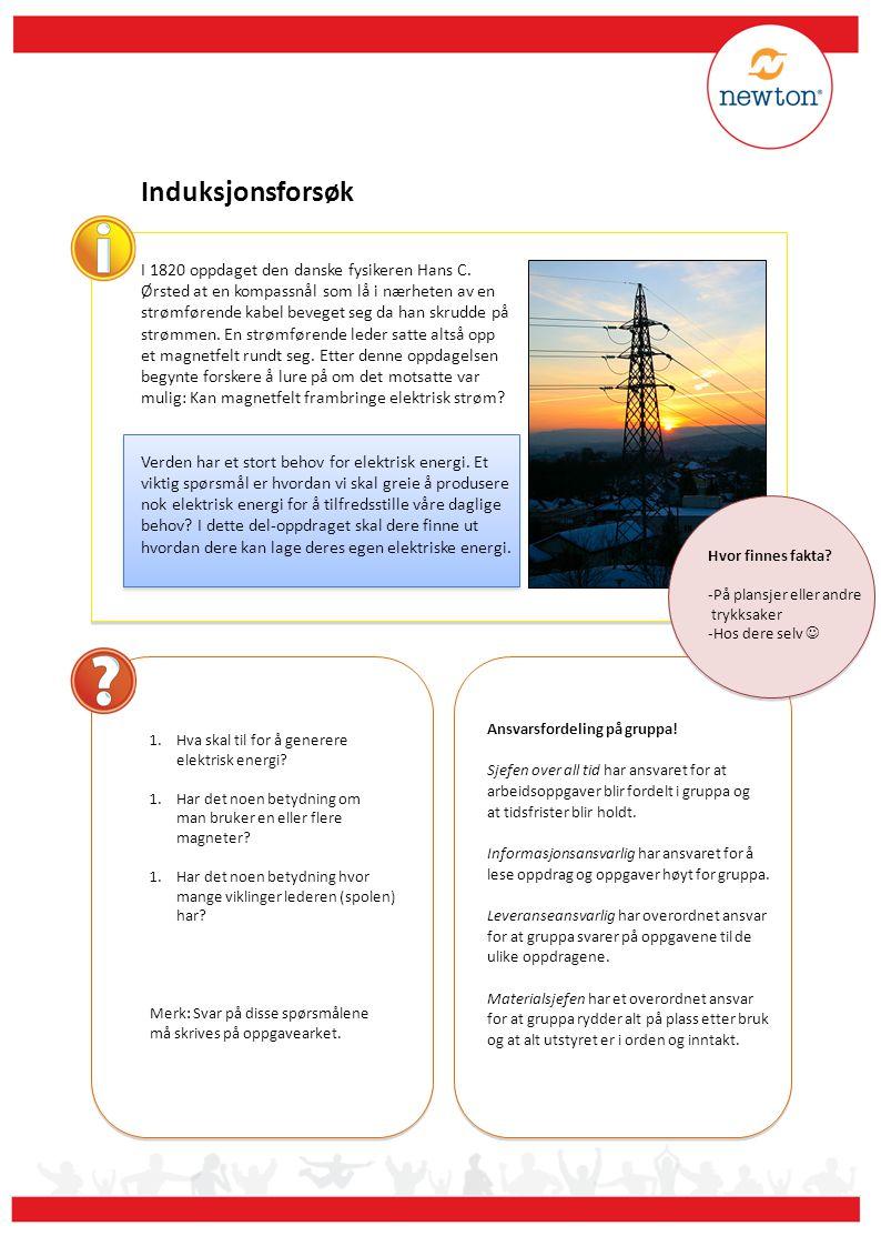 Induksjonsforsøk 1.Hva skal til for å generere elektrisk energi.
