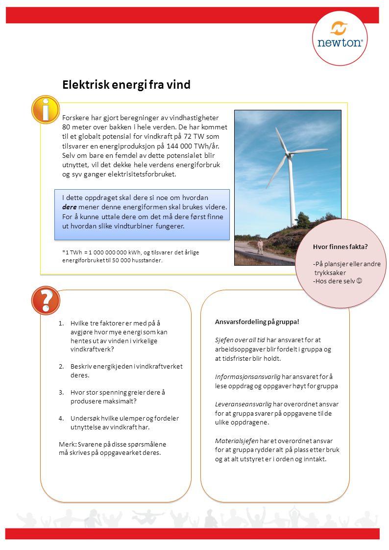 Elektrisk energi fra vind 1.Gå til angitt plass.Ta en boks med utstyr og start på neste oppdrag.