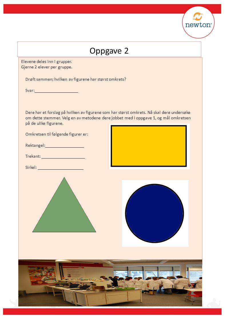 Oppgave 2 Elevene deles inn i grupper. Gjerne 2 elever per gruppe. Drøft sammen; hvilken av figurene har størst omkrets? Svar:___________________ Dere