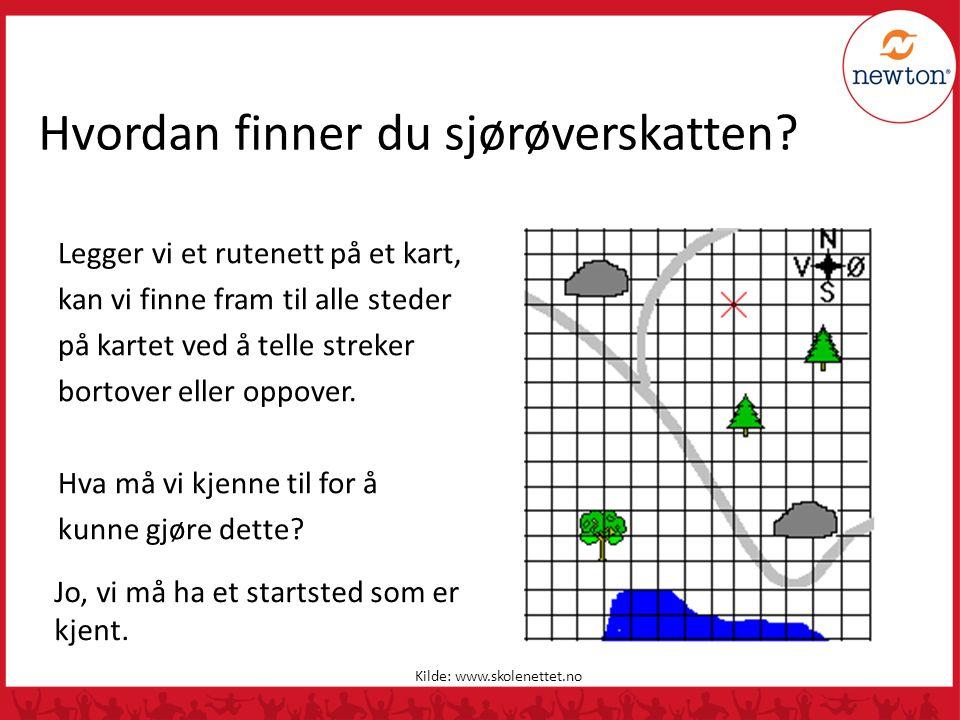 Hvordan finner du sjørøverskatten? Legger vi et rutenett på et kart, kan vi finne fram til alle steder på kartet ved å telle streker bortover eller op