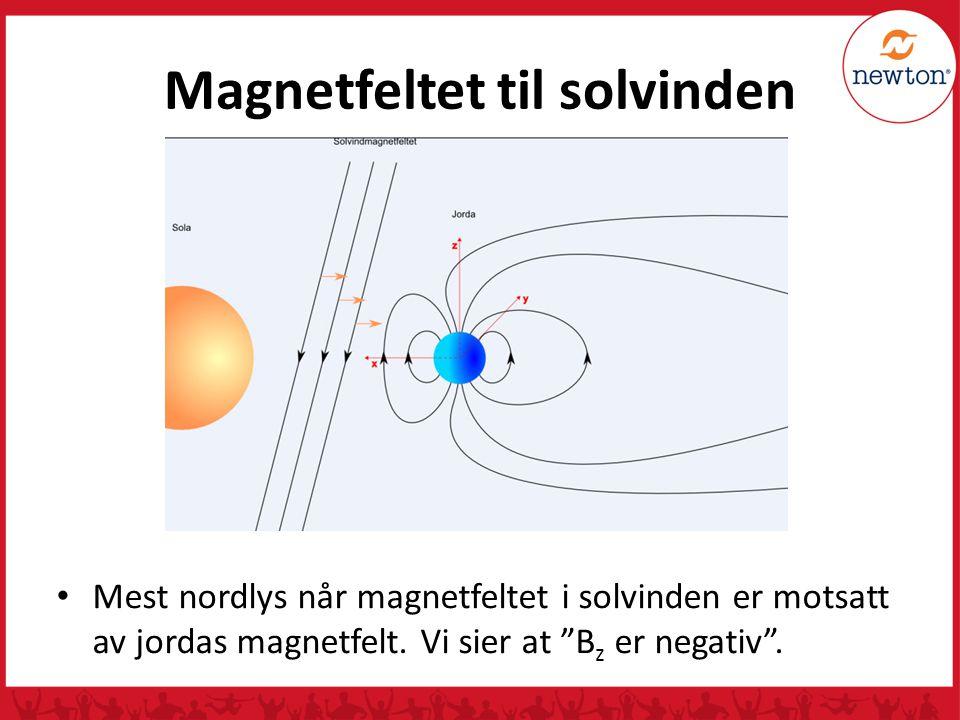 """Magnetfeltet til solvinden Mest nordlys når magnetfeltet i solvinden er motsatt av jordas magnetfelt. Vi sier at """"B z er negativ""""."""