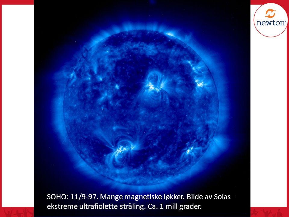 SOHO: 11/9-97. Mange magnetiske løkker. Bilde av Solas ekstreme ultrafiolette stråling. Ca. 1 mill grader.