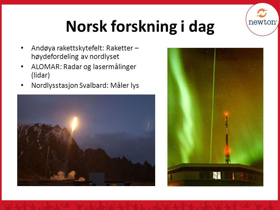 Norsk forskning i dag Andøya rakettskytefelt: Raketter – høydefordeling av nordlyset ALOMAR: Radar og lasermålinger (lidar) Nordlysstasjon Svalbard: M