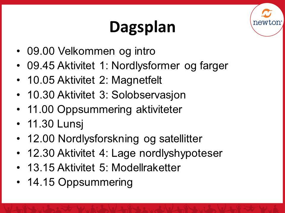 Dagsplan 09.00 Velkommen og intro 09.45 Aktivitet 1: Nordlysformer og farger 10.05 Aktivitet 2: Magnetfelt 10.30 Aktivitet 3: Solobservasjon 11.00 Opp