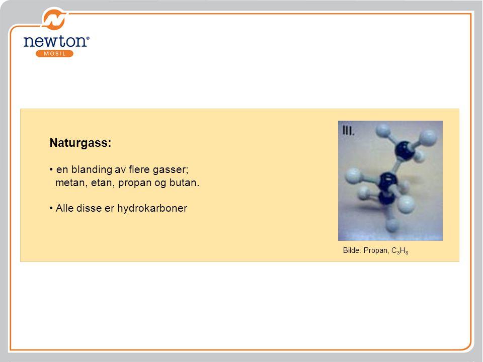 Naturgass: en blanding av flere gasser; metan, etan, propan og butan. Alle disse er hydrokarboner Bilde: Propan, C 3 H 8