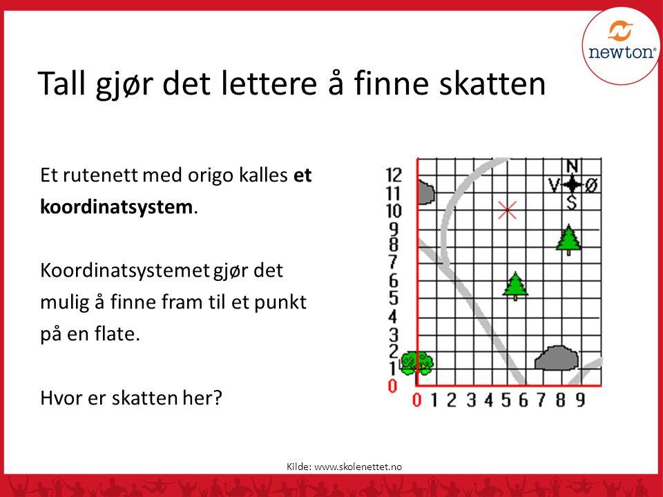 Tall gjør det lettere å finne skatten Et rutenett med origo kalles et koordinatsystem. Koordinatsystemet gjør det mulig å finne fram til et punkt på e