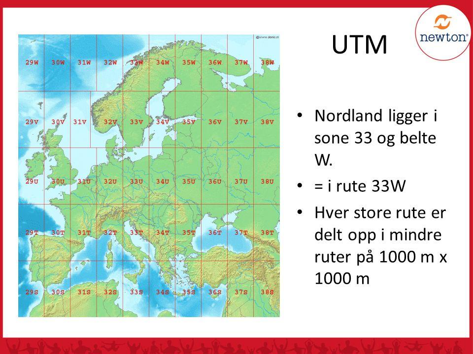 UTM Nordland ligger i sone 33 og belte W.
