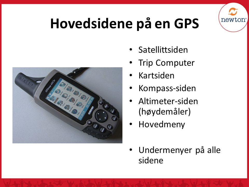 Hovedsidene på en GPS Satellittsiden Trip Computer Kartsiden Kompass-siden Altimeter-siden (høydemåler) Hovedmeny Undermenyer på alle sidene