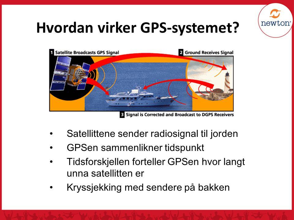 GPS-satellittene Minst 24 satellitter sender radiosignaler samtidig (NAVSTAR) 900 kg Skal vare i 10 år 5 meter i diameter Drives av solenergi Nils Kr.