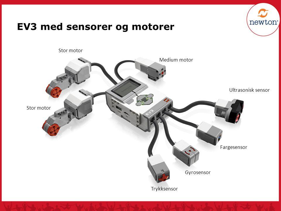 Ultrasonisk sensor Fargesensor Gyrosensor Trykksensor Stor motor Medium motor Stor motor EV3 med sensorer og motorer