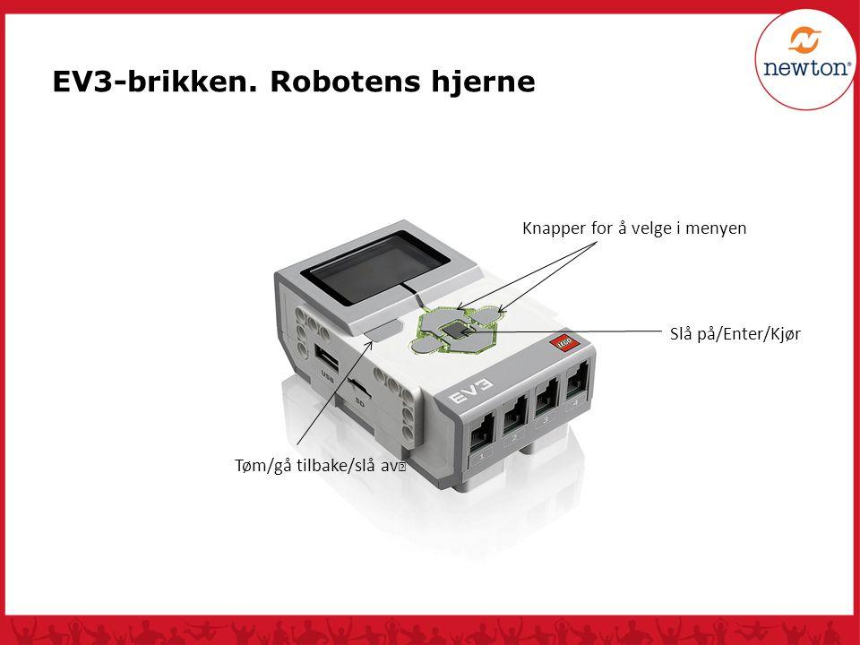 Tøm/gå tilbake/slå av Knapper for å velge i menyen Slå på/Enter/Kjør EV3-brikken. Robotens hjerne
