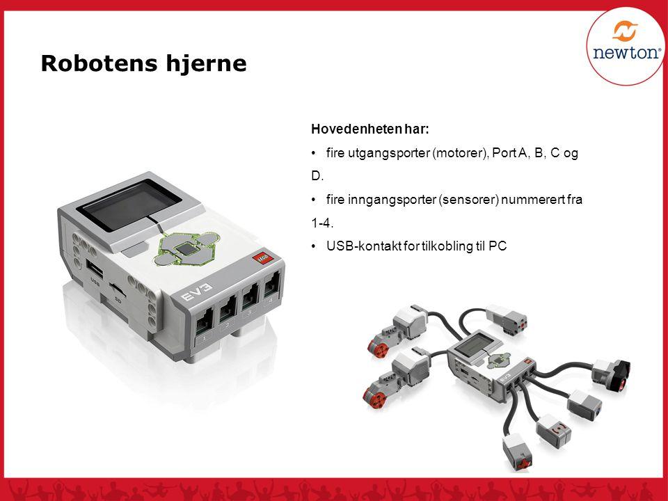 Hovedenheten har: fire utgangsporter (motorer), Port A, B, C og D. fire inngangsporter (sensorer) nummerert fra 1-4. USB-kontakt for tilkobling til PC