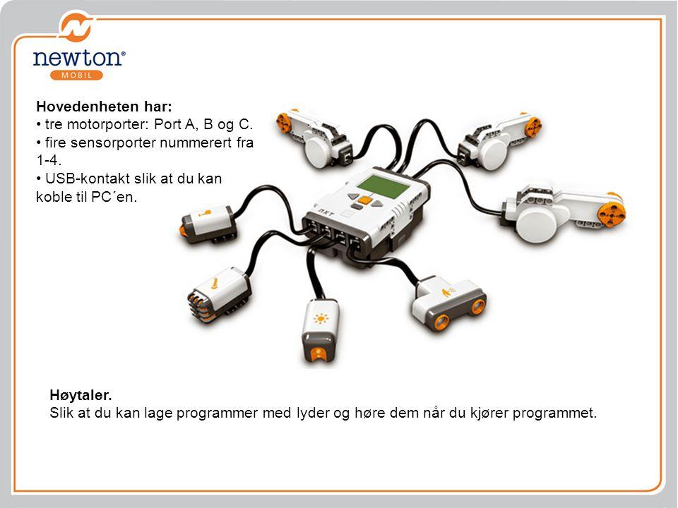 NXT-brikken er robotens hjerne Orange knapp: Slå på/ Enter/ Kjør.