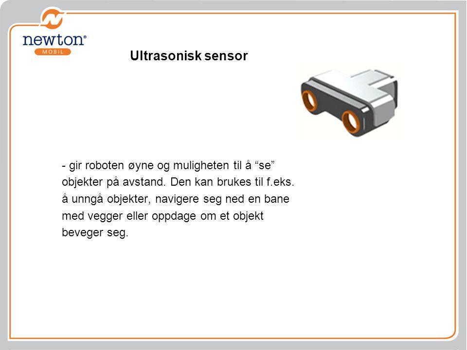 """Ultrasonisk sensor - gir roboten øyne og muligheten til å """"se"""" objekter på avstand. Den kan brukes til f.eks. å unngå objekter, navigere seg ned en ba"""