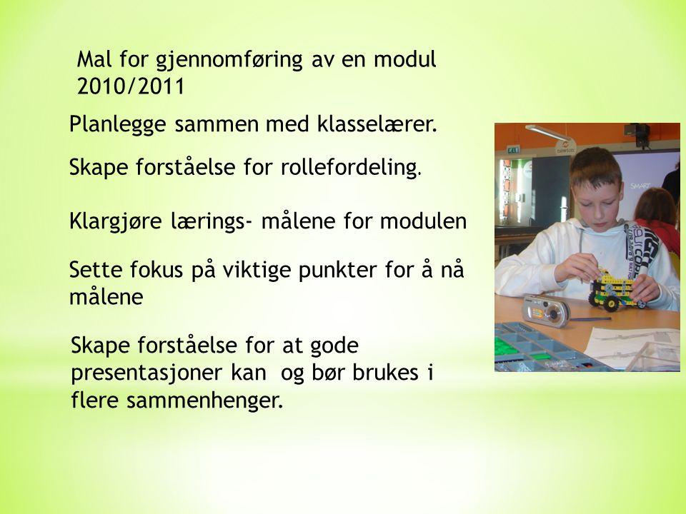 Mal for gjennomføring av en modul 2010/2011 Planlegge sammen med klasselærer.