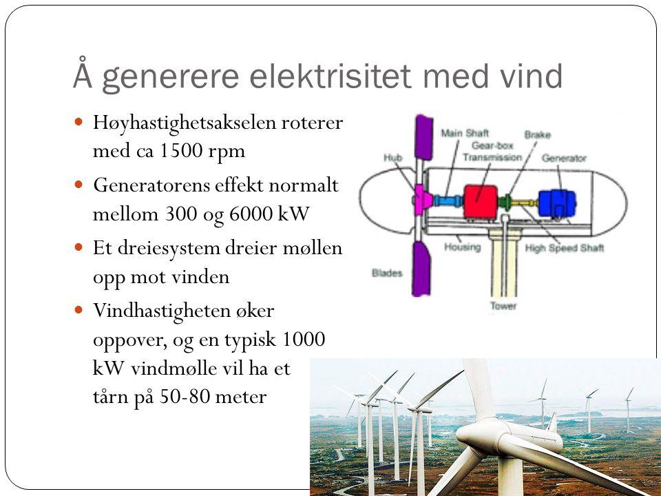 Å generere elektrisitet med vind Høyhastighetsakselen roterer med ca 1500 rpm Generatorens effekt normalt mellom 300 og 6000 kW Et dreiesystem dreier møllen opp mot vinden Vindhastigheten øker oppover, og en typisk 1000 kW vindmølle vil ha et tårn på 50-80 meter