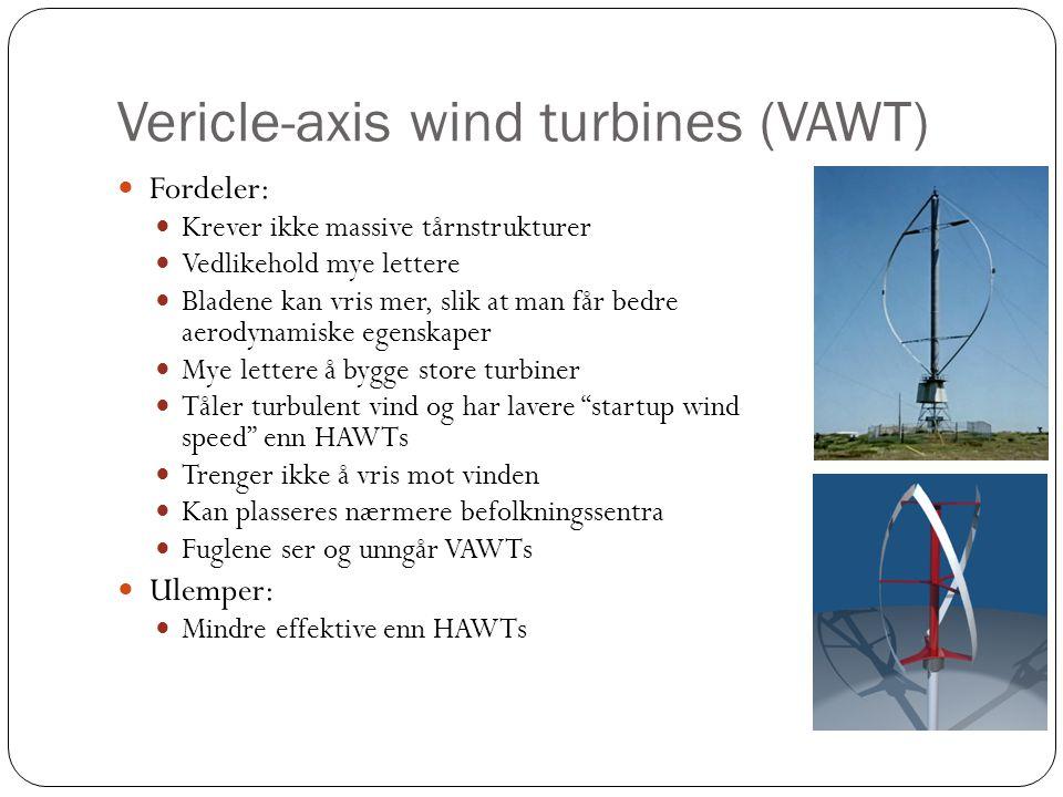Vericle-axis wind turbines (VAWT) Fordeler: Krever ikke massive tårnstrukturer Vedlikehold mye lettere Bladene kan vris mer, slik at man får bedre aerodynamiske egenskaper Mye lettere å bygge store turbiner Tåler turbulent vind og har lavere startup wind speed enn HAWTs Trenger ikke å vris mot vinden Kan plasseres nærmere befolkningssentra Fuglene ser og unngår VAWTs Ulemper: Mindre effektive enn HAWTs