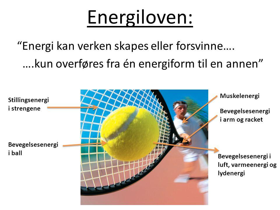 """Energiloven: """"Energi kan verken skapes eller forsvinne…. ….kun overføres fra én energiform til en annen"""" Muskelenergi Bevegelsesenergi i arm og racket"""