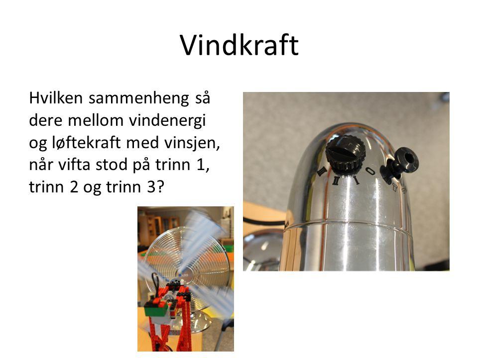 Vindkraft Hvilken sammenheng så dere mellom vindenergi og løftekraft med vinsjen, når vifta stod på trinn 1, trinn 2 og trinn 3