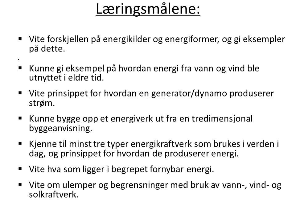  Vite forskjellen på energikilder og energiformer, og gi eksempler på dette.