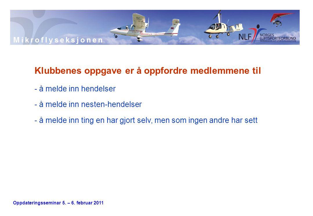 Oppdateringsseminar 5. – 6. februar 2011 Klubbenes oppgave er å oppfordre medlemmene til - å melde inn hendelser - å melde inn nesten-hendelser - å me