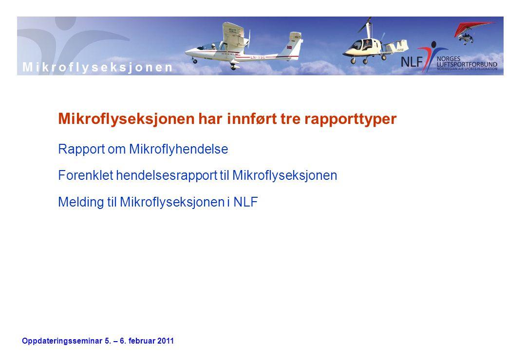 Oppdateringsseminar 5. – 6. februar 2011 Mikroflyseksjonen har innført tre rapporttyper Rapport om Mikroflyhendelse Forenklet hendelsesrapport til Mik