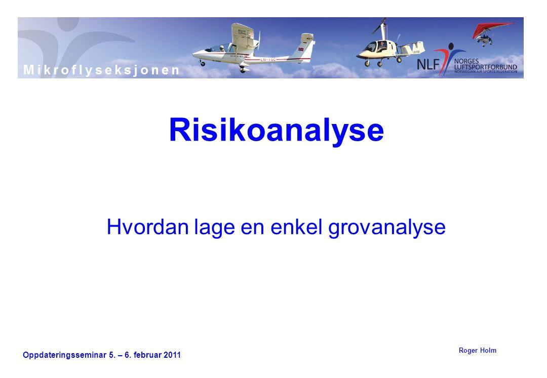 Oppdateringsseminar 5. – 6. februar 2011 Hvordan lage en enkel grovanalyse Risikoanalyse Roger Holm