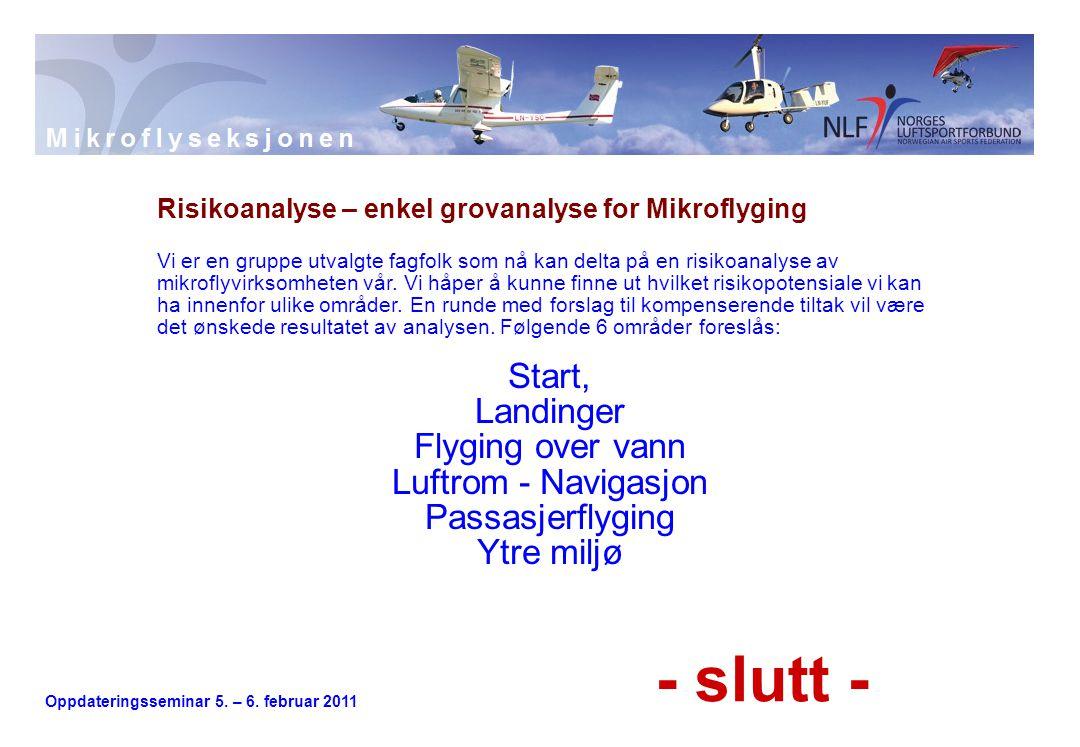 Oppdateringsseminar 5. – 6. februar 2011 Risikoanalyse – enkel grovanalyse for Mikroflyging Vi er en gruppe utvalgte fagfolk som nå kan delta på en ri